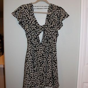 Free People Floral Dress w/ Bow Front & Open Back